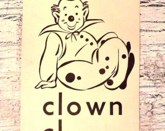 Vintage Alphabet Flash Card - Letter C - Clown - 1950s Illustrated School Flash Card