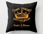 Throw Pillow Cover - Typography Crown Vintage Ad - Black Orange - 16x16, 18x18, 20x20 - Pillow case Original Design Home Décor by Adidit