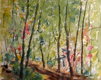 Spring Forest, Archival Print, Watercolor Landscape Painting, watercolor painting, watercolor art, forest painting, woodland art, tree art