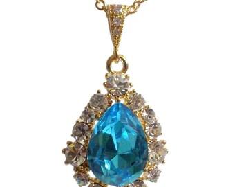 Something Blue Turquoise Necklace, Bridal Jewelry, Swarovski Teardrop Necklace, December Birthstone, BIJOUX