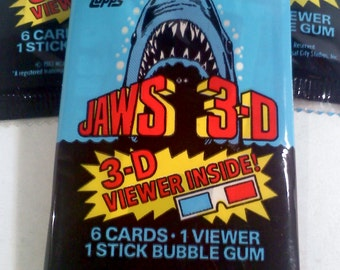 Jaws 3-D Vintage Trading Cards with 3-D Glasses