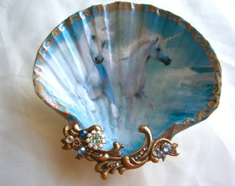 Unicorns Running on Beach Large Shell Jewelry Dish