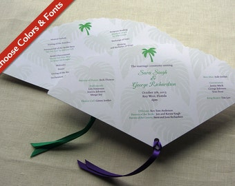Palm Tree Wedding Programs - Beach Fan Program Tropical Ceremony - Destination Wedding Program - Palm Leaf