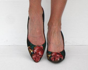 Vintage 50s Shoes * 1950s Shoes * Black Heels * 50s Heels * Stiletto Heels * Floral Heels * Rockabilly Shoes * Johansen