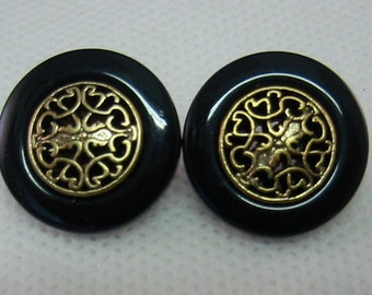 Black button, gold filagree center,  Lot of 6, Shank button.