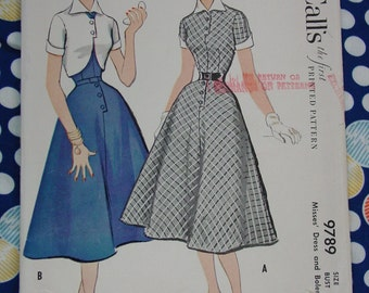 Vintage Pattern c.1954 McCall's No.9789 Dress and Bolero, Size 14
