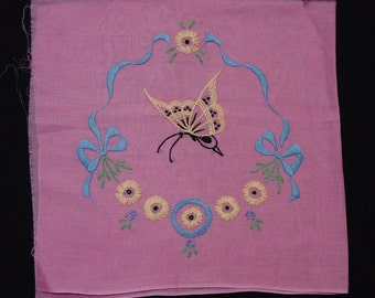 Nice Vintage Embroidered Organdy Pillow Top, Boudoir Pillow Butterfly