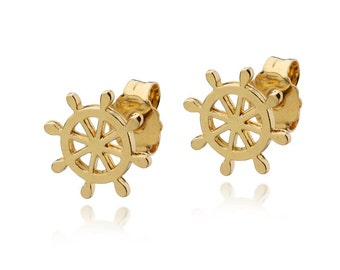 SHIP WHEEL STUD Earrings Gold Vermeil 18k Sailor Rudder Helm Posts, Nautical Jewelry