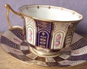 Antique Cauldon china tea cup set, blue and gold tea cup and saucer, English tea cup, hand painted pink roses tea set, porcelain tea cup