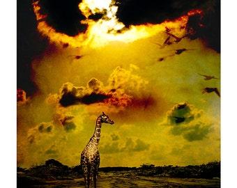 Giraffe Conceptual Art, Digital Art, Surreal Landscape, Giraffe Fine Art, Limited Edition Photography Print, Brown, Black