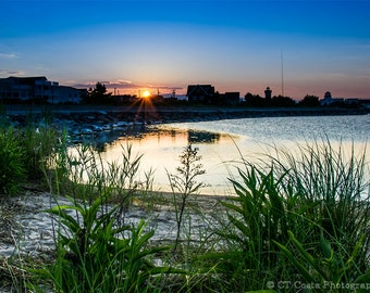 Sunset Beach Art, Hereford Inlet in Wildwood New Jersey, Shore Town Photography, Sun and Sand, Beach wall art