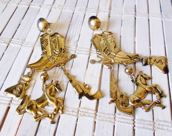 Vintage Cowgirl Dangle Earrings, Kitschy , Cowboy Boots, Charms, Bronco, Sixshooter, Spurs, Western earrings, Costume jewelry