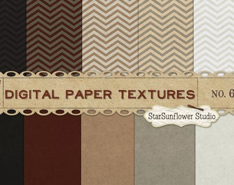 Chevron Pattern & Cardstock Style Digital Scrapbook Paper Pack  No 6 - 12x12