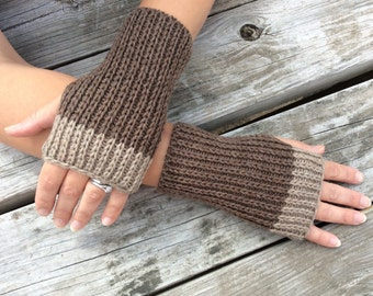Mens Fingerless gloves, Knit Gloves, Wrist Warmers, Hand Warmers, Texting Gloves, Brown