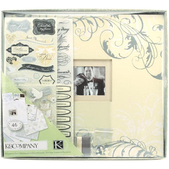 "Classic Wedding Scrapbook Kit - Post Bound 12""X12"" Album - Paper - Stickers - Embellishments - by K&Company (414803)"