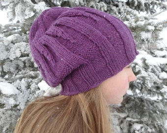 Handknitted Ribbed Pattern Slouch Slouchy Style Hat in Amethyst Purple Superwash Merino Wool