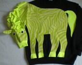lime green ZEBRA sweatshirt, Animal shirt, applique zebra sweater. Custom adult size/color, small, medium, large, xlarge, Halloween costume