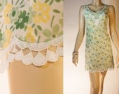 Charming silky soft semi sheer ivory and green floral patterned nylon and delicate ivory lace detail 60's vintage full slip petticoat - 2797