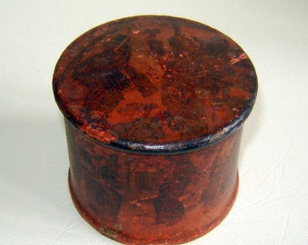 Antique MEIJI 19c  JAPANESE red LACQUER pAPIER mACHE pOWDER bOX / pOT