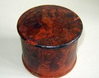 Antique MEIJI 19c  JAPANESE red LACQUER pAPIER mACHE pOWDER bOX / pOT