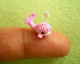 Cute Pink Whale Dolphin - Tiny Crocheted Dollhouse Miniature Whales  - Made to Order