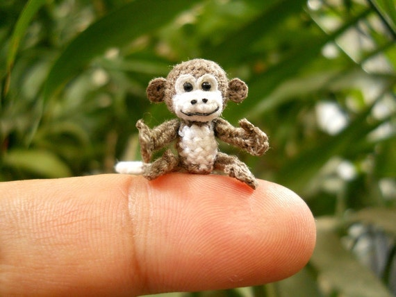 Tiny Crochet Monkey - Micro Mini White Gray Monkeys - Made to Order