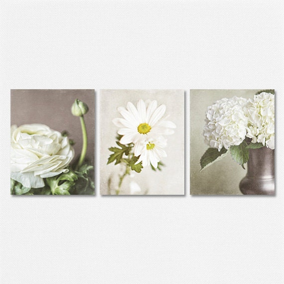 Wall Decor Set Of 3 : Beige flower print or canvas art set of wall cream
