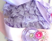 Lavender Lace Petti Romper 3 Piece Set, Romper and Sash, Baby Lace Romper