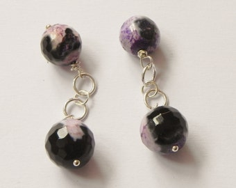 Purple fire agate sterling silver chain link cufflinks