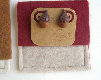 Acorn Stud Earrings, Polymer clay earrings, Nature Jewelry