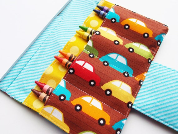 Travel Crayon Wallet for Toddlers- Sketch pad and crayons -Cars