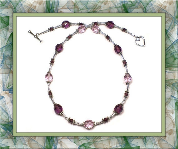 Shades of Amethyst Czech Glass Choker Necklace 15-3/4 inches
