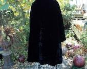 Vintage black velvet evening coat jacket faux fur wedding wrap stole
