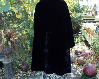 Vintage black velvet evening coat jacket faux fur wedding wrap stole