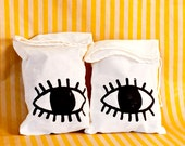 Silkscreened Evil Eye Drawstring Bag