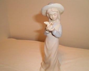 Vintage 6 inch Ceramic Girl Figurine Holding a Dove, Victorian, Shabby Chic, Bohemian, Antique, Unique, Elegant, Romantic, Collectible, OOAK