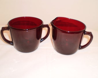 Vintage Open Face Rudy Red Sugar and Creamer Set Retro Boho Victorian Cottage Chic