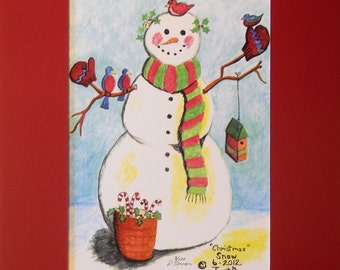 Snowman Christmas Holiday Matted Print Quirky Fun Merry Jolly Bright Festive Frosty Cold Winter Sledding Snowballs Mittens Chilly Icicle