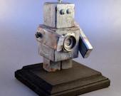 Rusted Gray Robot Art, Desktop Sculpture, Handmade Found Object Assemblage