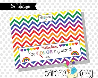 High Quality INSTANT DOWNLOAD Printable Rainbow Colorful Chevron You Color My World  Crayon Treat Bag Toppers Labels Valentines