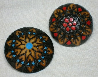 Wood Ethnic Brooch, Pin Pair, Red & Blue, European, Scandinavian