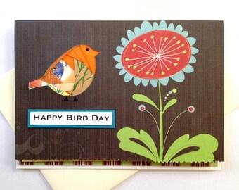 Happy Bird Day - Handmade Birthday Iris Fold Birdie Greeting Card (Blank Inside) - birthday, bird day holiday