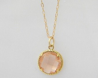 Champagne Peach Necklace-Blush Gold Teardrop Jewelry - 14k Gold Filled Chain - Bridesmaid Jewelry - Wedding Jewelry - Dainty Gold Necklace