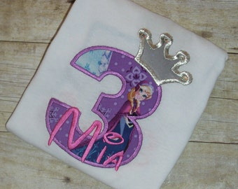 Design your own Birthday Number Princess Anna character with crown and crystals applique t-shirt - Personalized free
