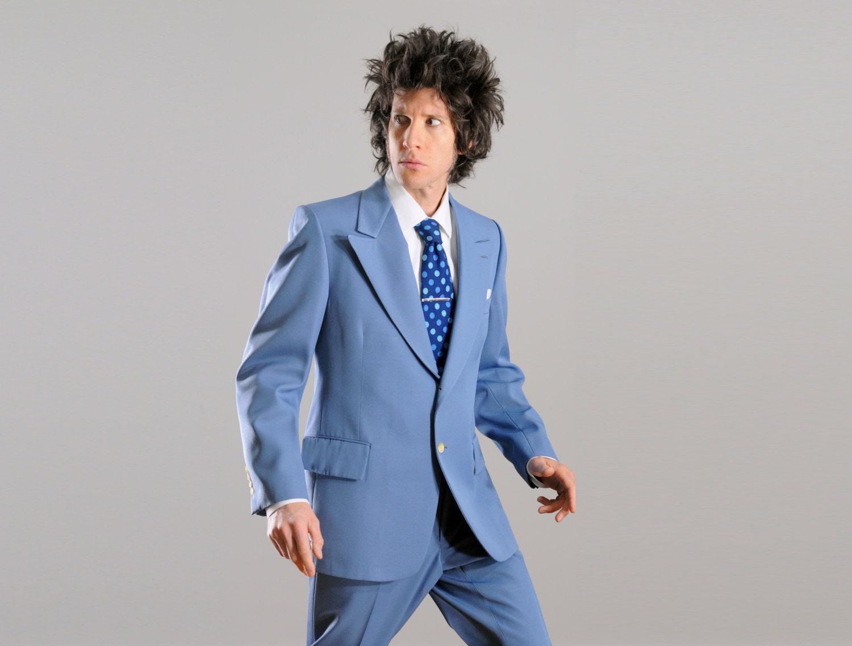 vintage 70s sky blue suit 1970 periwinkle powder blue peak