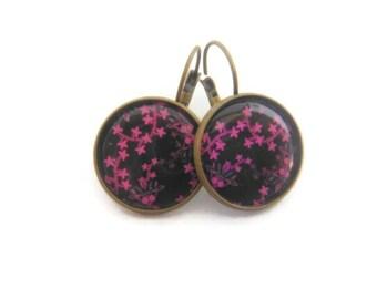 Pink And Black Stars Flower  Earrings