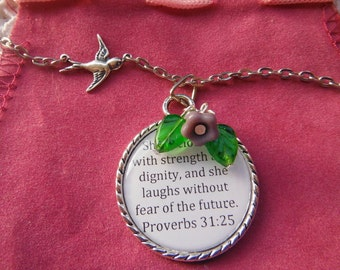 Proverbs 31 25 Necklace, She is Clothed with Strength And Dignity, Christian Woman Necklace