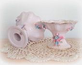 Fancy Vintage Lefton Candle Holders Candlesticks Ceramic Pink and Blue Flower Embellishment