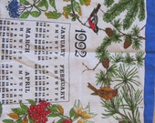Retro Calendar Irish Linen Kitchen Towel - Year 1992 - Unused