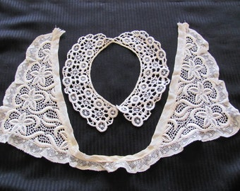 Collar Pair of Lovely Antique White Lace Collars Victorian